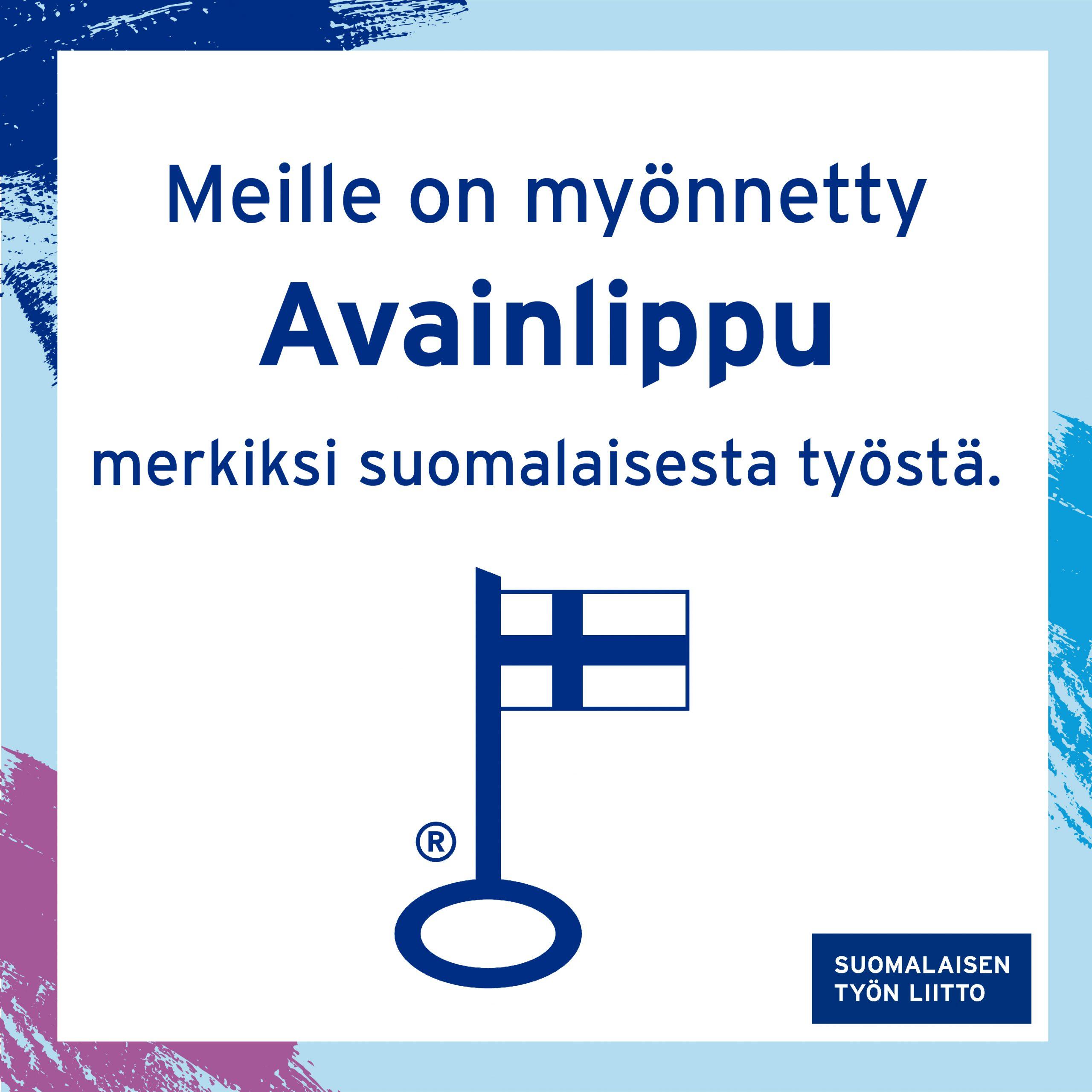 MP- Plast - Meille on myönnetty Avainlippu merkiksi suomalaisesta työstä